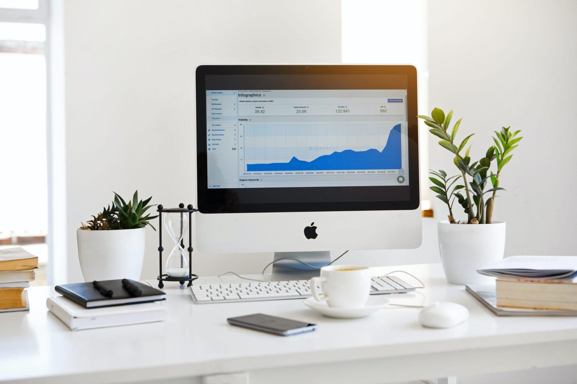 Digital Marketing infographics seen on iMac